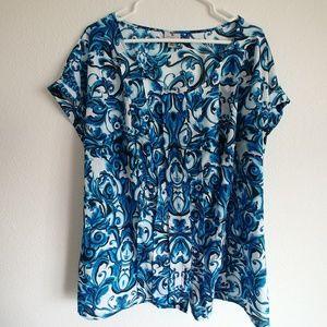 Worthington blue & white blouse